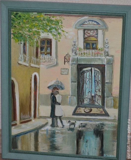 Город ручной работы. Ярмарка Мастеров - ручная работа. Купить Прогулка под дождем. Handmade. Бирюзовый, картина для интерьера