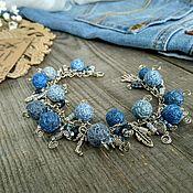 Украшения handmade. Livemaster - original item Bracelet on a Chain Textile Beads Denim Style Blue Silver Boho. Handmade.