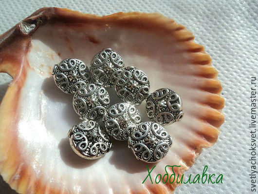 Бусина- спейсер для украшений цвет античное серебро  размер 20x 11 мм размер отверстия 1 мм