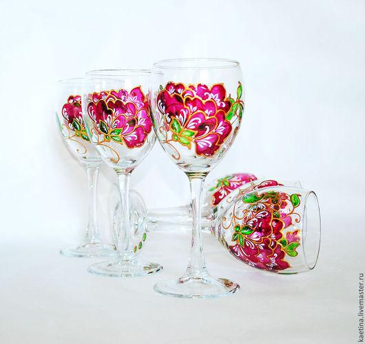 Бокалы, стаканы ручной работы. Ярмарка Мастеров - ручная работа. Купить Красные цветы - 6 шт. Handmade. Бордовый, стекло