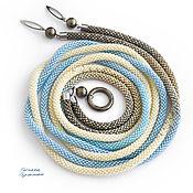 Аксессуары handmade. Livemaster - original item Thin belt rope made of beads with pyrite Golden blue. Handmade.