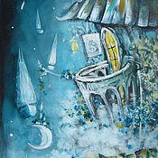 Картины и панно ручной работы. Ярмарка Мастеров - ручная работа Ночная регата. Handmade.