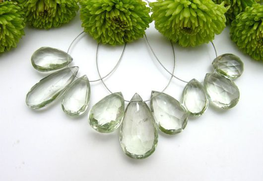 Празиолит (облагороженный аметист) комплект капелька с ювелирной огранкой, цвет светло- зеленый, прозрачный. размер средний 22х13-15х10 AAA132 цена указана за комплект (3шт.)