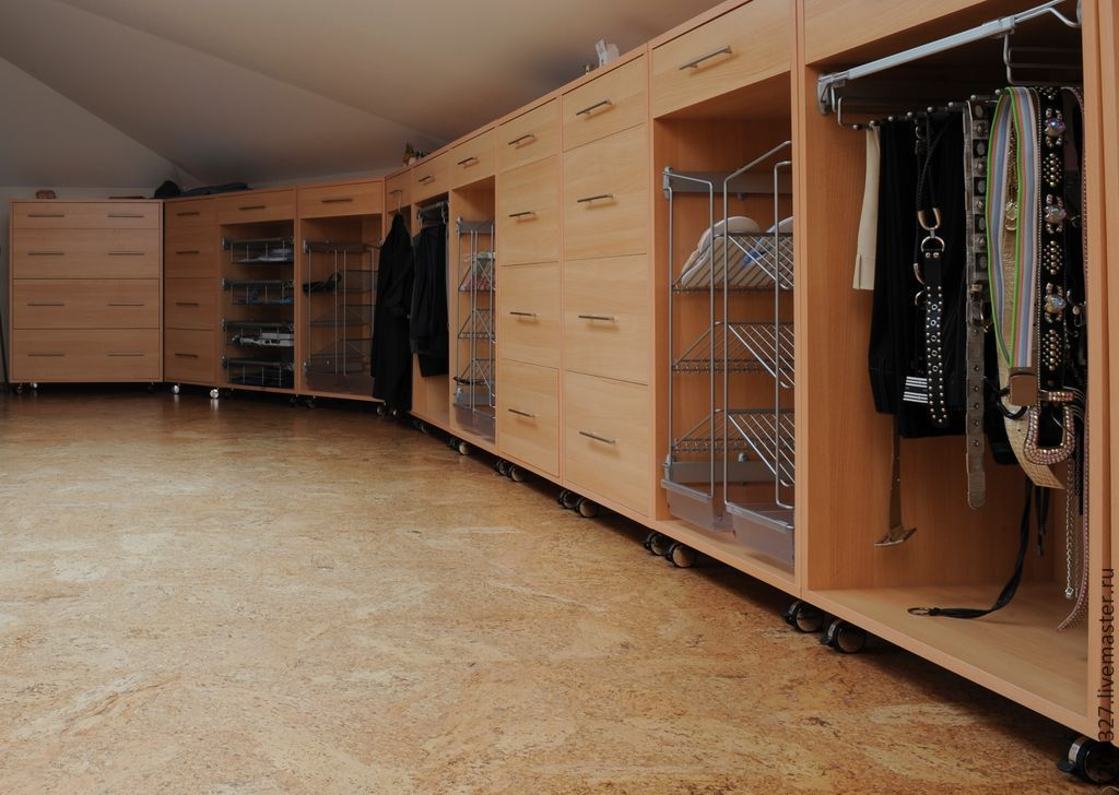 Spacious, roomy and functional dressing room. Made to order taking into account wishes by color, filling, design and materials.