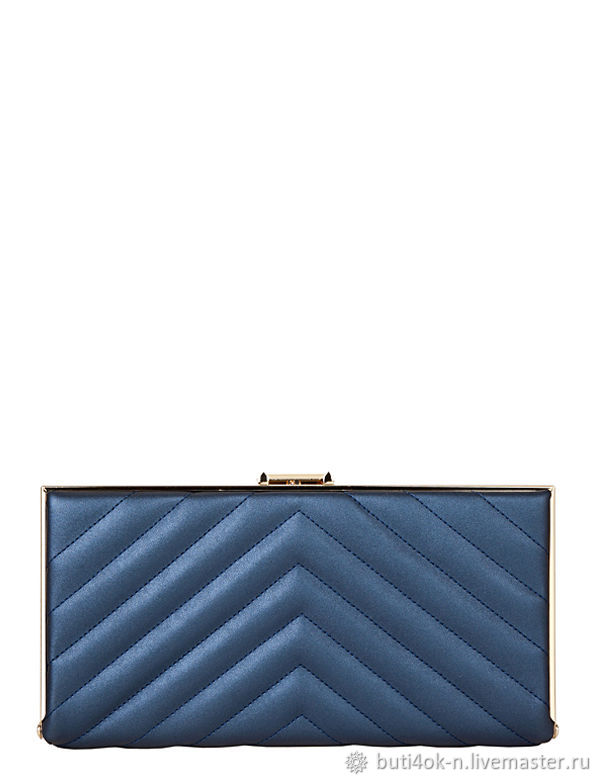 Blue clutch bag with stitching on the clasp. Italy, brand, Vintage bags, Nelidovo,  Фото №1