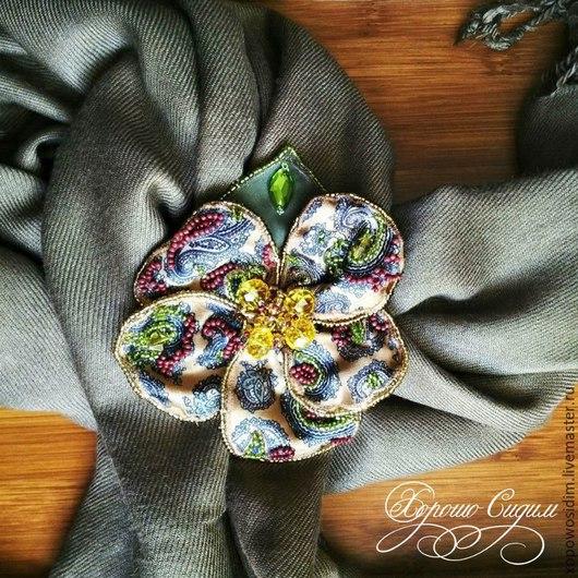 Броши ручной работы. Ярмарка Мастеров - ручная работа. Купить Осенние ветры. Handmade. Оливковый, брошь цветок, индийский огурец
