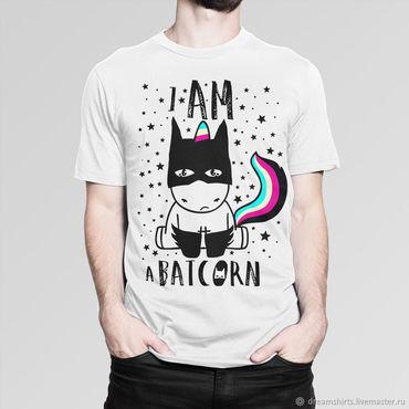 "Clothing handmade. Livemaster - original item Футболка хлопковая "" Бэтмен -  I Am a Batcorn"". Handmade."