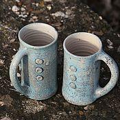 """Посуда ручной работы. Ярмарка Мастеров - ручная работа Кружки раку """"Морозное утро"""". Раку керамика.. Handmade."""