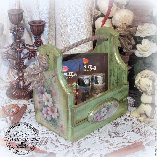 """Корзины, коробы ручной работы. Ярмарка Мастеров - ручная работа. Купить Ящик для мелочей """"Летний"""". Handmade. Зеленый, ящик для рукоделия"""