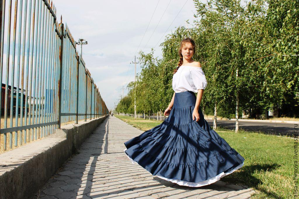 Denim yoke 'Stella' skirt, tiered,summer, Skirts, Tashkent,  Фото №1