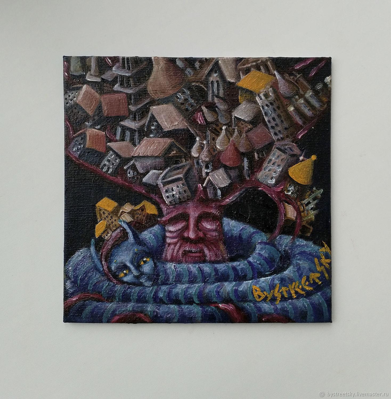 Вместе навсегда: порядок и хаос. Маленький холст на картоне 15Х15,масл, Картины, Ногинск,  Фото №1
