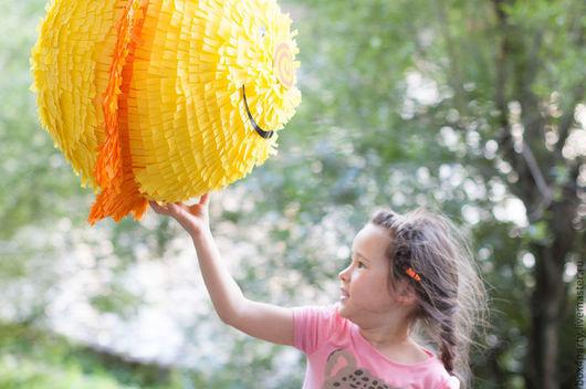"""Праздничная атрибутика ручной работы. Ярмарка Мастеров - ручная работа. Купить Пиньята """"Солнышко"""". Handmade. Желтый, пиньята солнце, бумага"""