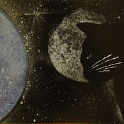 Картины и панно ручной работы. Ярмарка Мастеров - ручная работа картина Кошка смотрит на луну и планету. Handmade.