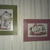 Картины и панно ручной работы. Ярмарка Мастеров - ручная работа Кошки счастья (Манэки-нэко) (вышивка крестиком). Handmade.