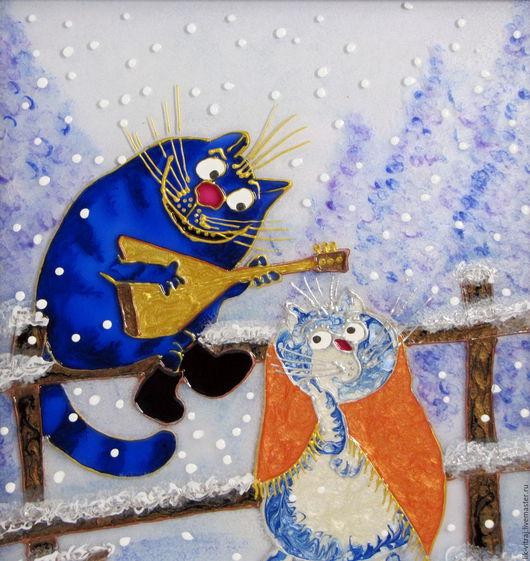 Животные ручной работы. Ярмарка Мастеров - ручная работа. Купить По морозу босиком. Синие коты Рины Зенюк. Витражная картина.. Handmade.