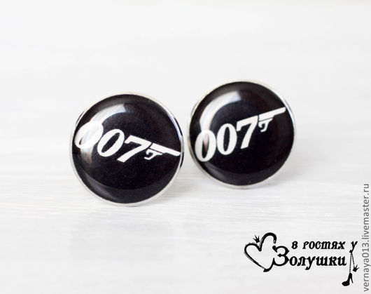 """Запонки ручной работы. Ярмарка Мастеров - ручная работа. Купить Запонки """"007"""". Handmade. Черный, запонки агент, спецагент запонки"""