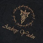Одежда ручной работы. Ярмарка Мастеров - ручная работа Черный  махровый именной халат. Машинная вышивка. Handmade.