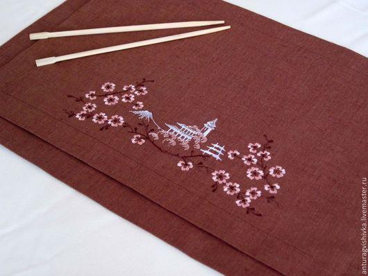 Салфетки с вышивкой Японский стиль - оригинальный новогодний подарок, подарок к любому празднику.