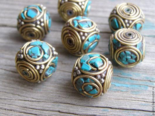 Для украшений ручной работы. Ярмарка Мастеров - ручная работа. Купить Этнические бусины с бирюзой, Непал БН30. Handmade.