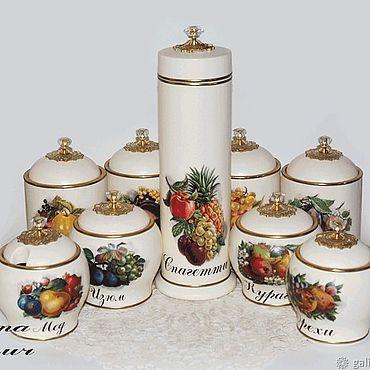 Посуда ручной работы. Ярмарка Мастеров - ручная работа Банки: Баночки для кухни Сочные фрукты. Handmade.