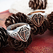 Украшения handmade. Livemaster - original item Templar ring Knight Ring Antique Defender Ring bronze silver. Handmade.