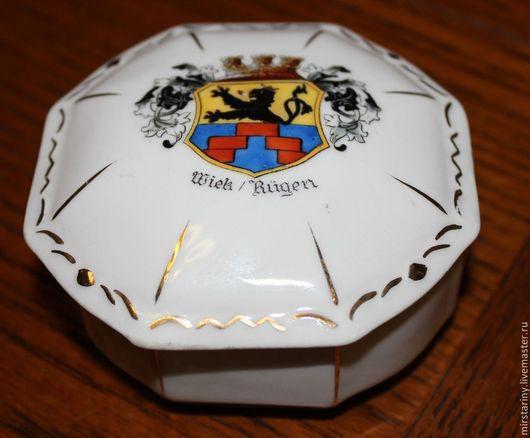 Винтажные предметы интерьера. Ярмарка Мастеров - ручная работа. Купить Красивая фарфоровая шкатулка круглой формы, Германия. Handmade. Разноцветный