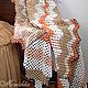 """Текстиль, ковры ручной работы. Ярмарка Мастеров - ручная работа. Купить Плед вязаный """"Зигзаг"""", покрывало. Handmade. Бежевый"""