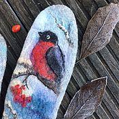 Аксессуары ручной работы. Ярмарка Мастеров - ручная работа Снегири -женские  вышитые валяные варежки со снегирями, рябина. Handmade.