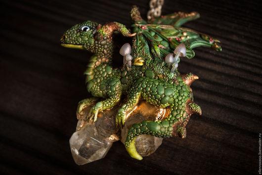 Кулоны, подвески ручной работы. Ярмарка Мастеров - ручная работа. Купить кулон- Лесной дракон. Handmade. Зеленый, драгоценный камень