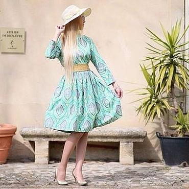Одежда ручной работы. Ярмарка Мастеров - ручная работа Платье миди Пейсли зеленый цвет с узором пышная юбка осеннее орнамент. Handmade.