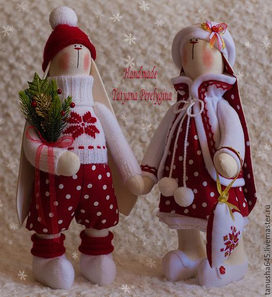 Куклы Тильды ручной работы. Ярмарка Мастеров - ручная работа. Купить Зайцы новогодние. Handmade. Зайцы, зайцы тильда