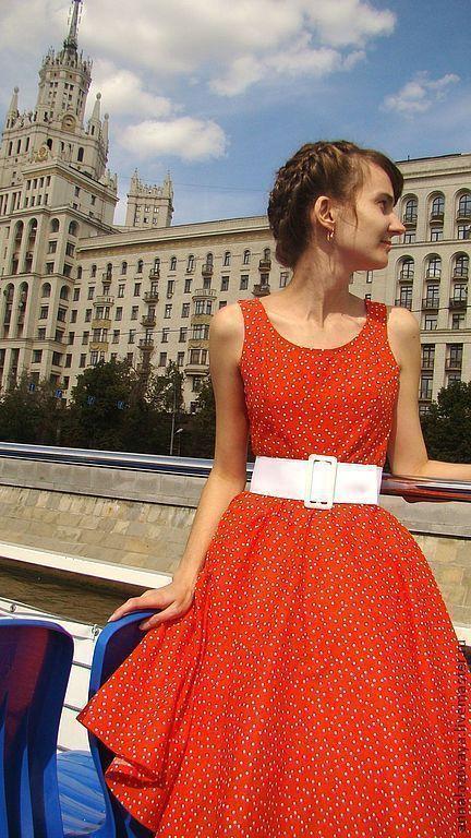 Платья ручной работы. Ярмарка Мастеров - ручная работа. Купить Платье 003. Handmade. Ярко-красный, ретро, нью-лук
