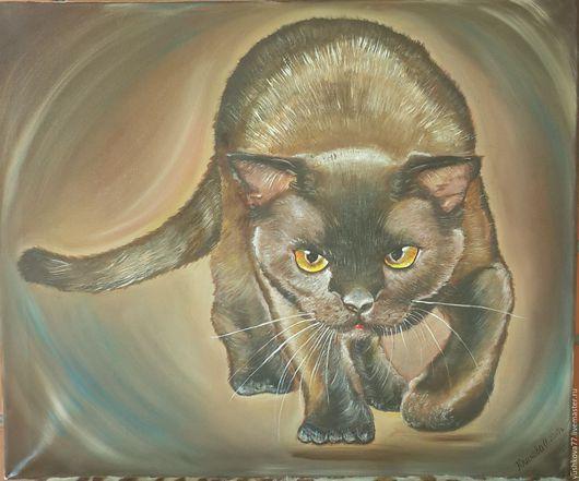 Животные ручной работы. Ярмарка Мастеров-ручная работа. Купить картины маслом `Чёрный кот`(холст, масло 60Х50 Handmade