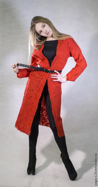 """Кофты и свитера ручной работы. Ярмарка Мастеров - ручная работа. Купить Кардиган """"Красный"""". Handmade. Ярко-красный"""