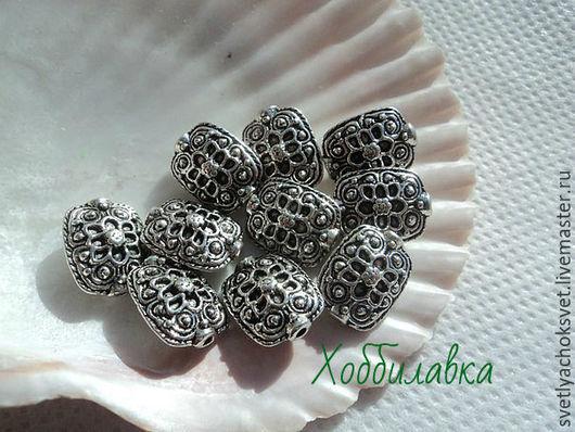 Металлические бусины- спейсеры для создания украшений Металл: цинковый сплав  Цвет: античное серебро