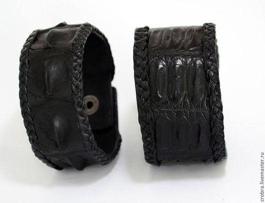 Браслеты ручной работы. Ярмарка Мастеров - ручная работа. Купить Красивейший черный крокодиловый браслет. Handmade. Черный, черный кокродил
