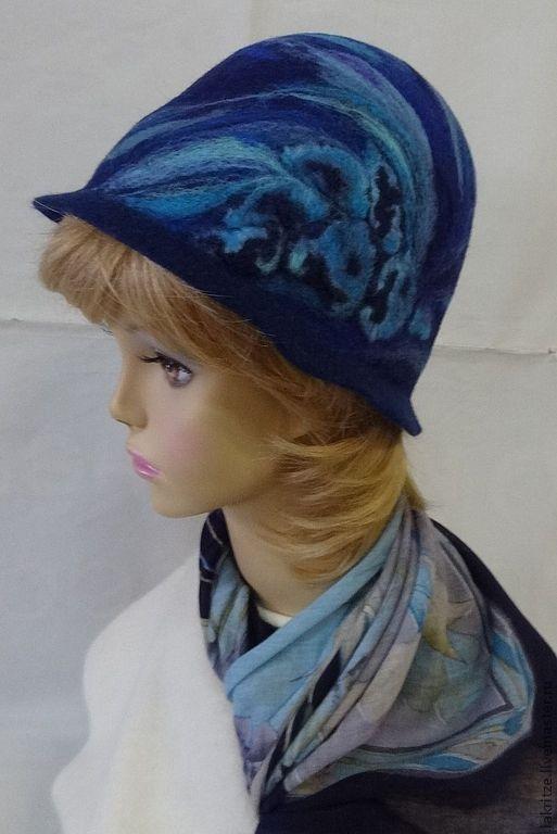 """Шляпы ручной работы. Ярмарка Мастеров - ручная работа. Купить Шляпка """"Зимний Байкал"""".. Handmade. Синий, шерсть для валяния"""
