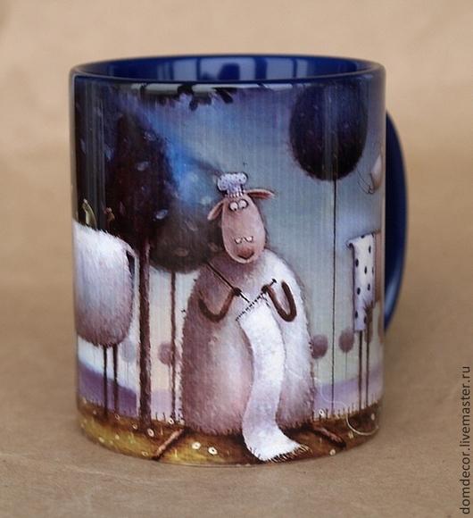 """Кружки и чашки ручной работы. Ярмарка Мастеров - ручная работа. Купить Чашка """"Бабушка Барашка"""". Handmade. Тёмно-синий, подарок"""