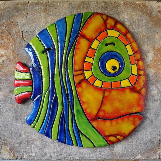 Животные ручной работы. Ярмарка Мастеров - ручная работа. Купить Керамическое панно «Полосатая Рыба». Handmade. Рыба, глазурь