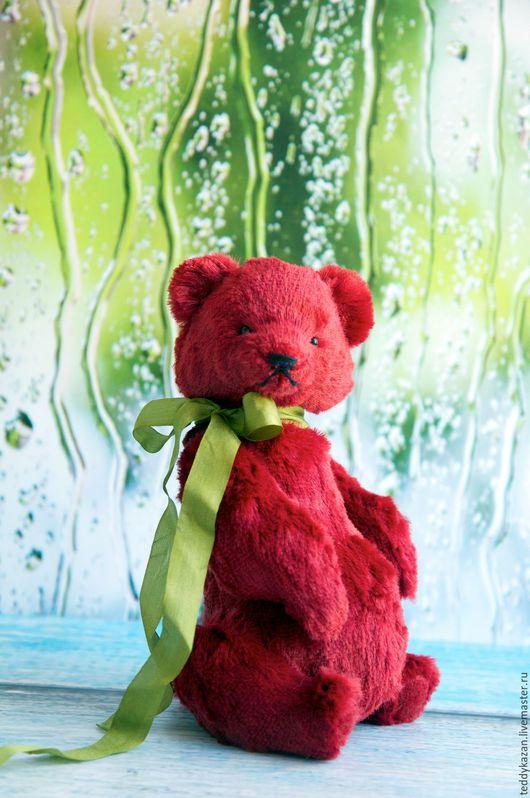 Мишки Тедди ручной работы. Ярмарка Мастеров - ручная работа. Купить Тедди мишка Мао. Handmade. Ярко-красный, вискоза