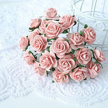 Цветы и флористика ручной работы. Ярмарка Мастеров - ручная работа Бумажные цветы Розово-персиковые 2 см Розы для скрапбукинга. Handmade.