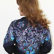 """Пиджаки ручной работы. Ярмарка Мастеров - ручная работа Жакет """"Цветы России"""" сине-черный - войлок. Handmade."""