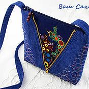 handmade. Livemaster - original item Denim bag for Phone, for Documents, with Bubbles. Handmade.