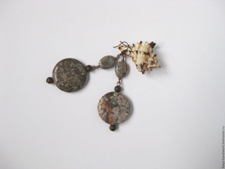 Long earrings made of natural stones of petrified shells (coquina), Earrings, Tula,  Фото №1