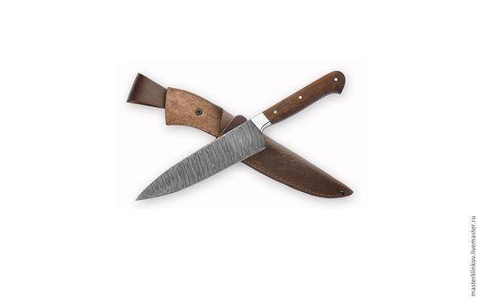Оружие ручной работы. Ярмарка Мастеров - ручная работа. Купить Кованый кухонный нож ручной работы Шеф-повар №2 из дамасской стали. Handmade.