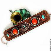 """Украшения ручной работы. Ярмарка Мастеров - ручная работа Браслет """"Марокко"""", натуральная бирюза и коралл. Handmade."""