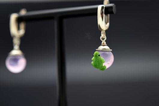 """Серьги ручной работы. Ярмарка Мастеров - ручная работа. Купить Серьги """"Розовый кварц"""". Handmade. Розовый, лягушка лэмпворк"""