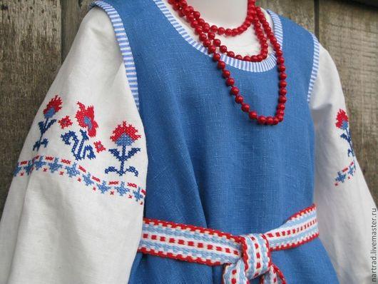 Одежда ручной работы. Ярмарка Мастеров - ручная работа. Купить Русский костюм для девочки-2. Handmade. Синий, русский стиль