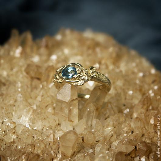 """Кольца ручной работы. Ярмарка Мастеров - ручная работа. Купить Кольцо """"Гарда"""". Handmade. Голубой, золотой, растительный орнамент"""