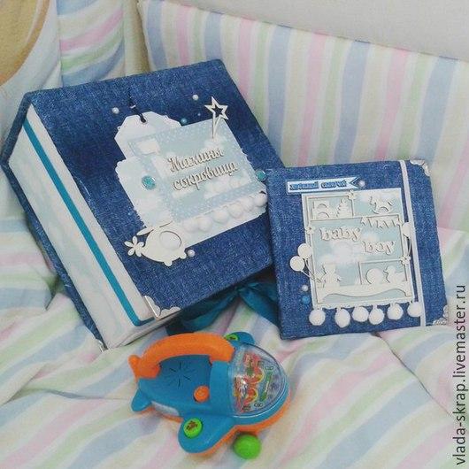 Подарки для новорожденных, ручной работы. Ярмарка Мастеров - ручная работа. Купить мамины сокровища и бокс для диска. Handmade. Синий